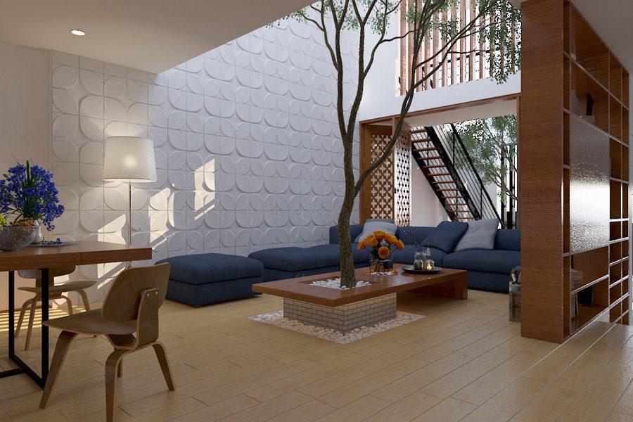 Bố trí thêm cây xanh giúp mở rộng không gian phòng khách hiệu quả hơn rất nhiều
