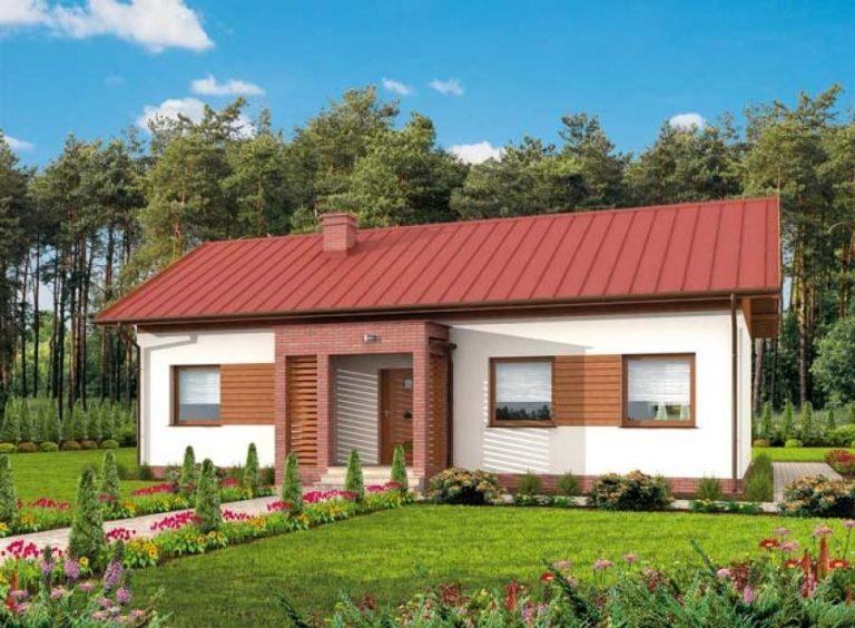 Thiết kế nhà cấp 4 mái tôn phong cách châu Âu (mẫu 8)