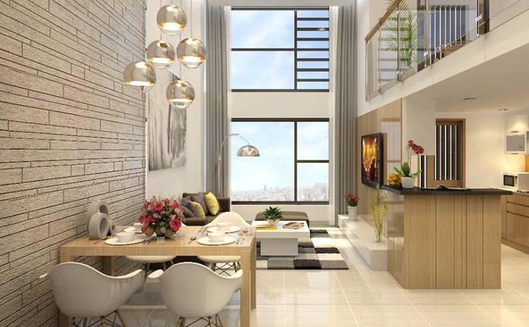 Thiết kế nội thất phòng khách thông tầng theo phong cách đơn giản, hiện đại