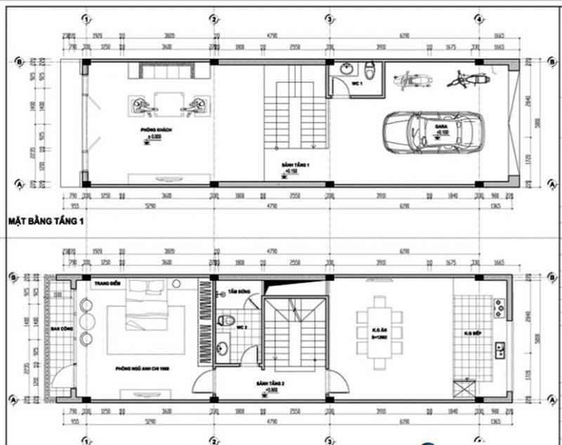 Bản vẽ nhà phố 3 tầng với cách bố trí công năng cho tầng 1 và tầng 2