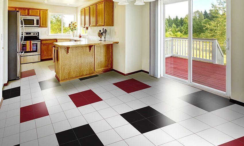 Mẫu gạch men lát nền rất đẹp, sang trọng cho không gian bếp nấu