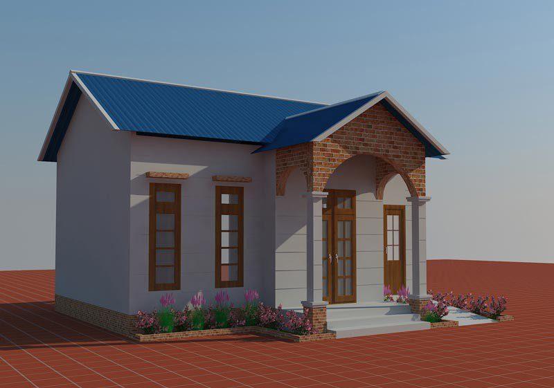 Nhà ở được xây theo hướng mệnh của gia chủ, cửa bố trí lệch tạo điểm nhấn và giúp không gian phân chia hiệu quả hơn