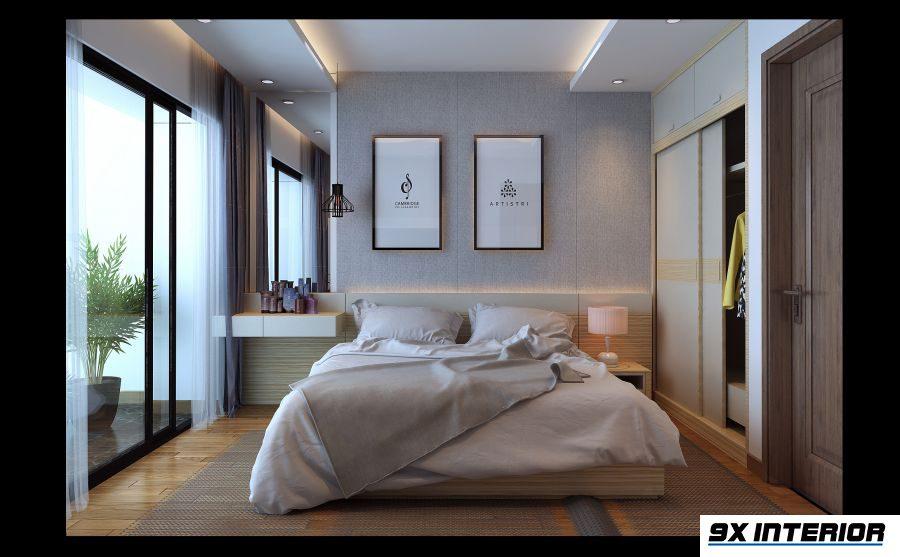 Hệ tủ áo được bố trí âm tường, cao kịch trần tạo cảm giác liền mạch và không gian cất trữ rộng rãi