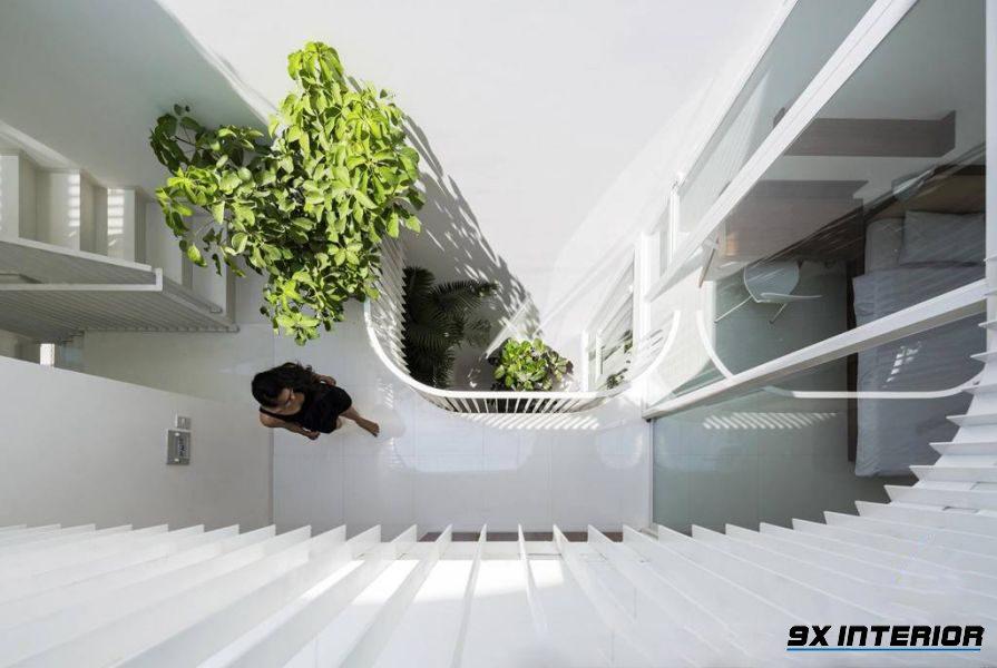 Giếng trời mang lại cho ngôi nhà ánh sáng tự nhiên và nguồn không khí trong lành