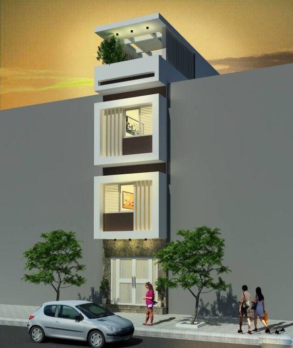 Một thiết kế nhà phố 3 tầng 1 tum khác với sự sáng tạo từ việc xây những lam chắn ở ngoài ban công. Hệ lam chắn giúp cản nắng đồng thời vẫn cho ánh sáng và không khí ra vào đều đặn trong căn nhà