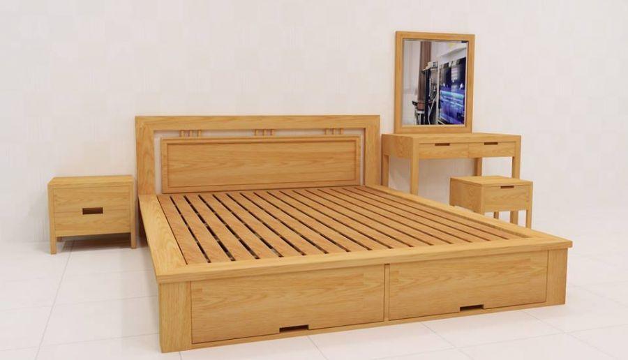 Giường ngủ làm từ gỗ sồi ghép thanh