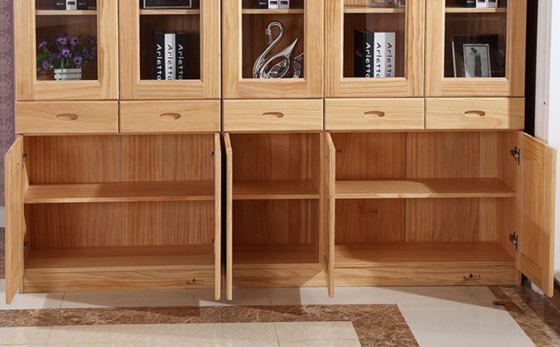 Tủ tài liệu văn phòng làm từ gỗ teak ghép thanh