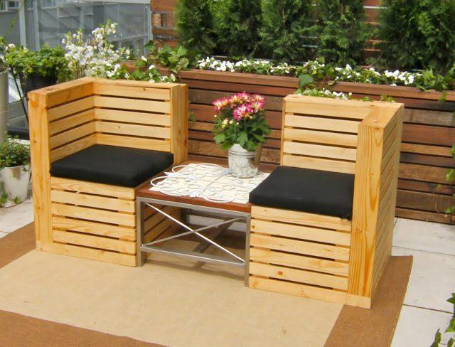 Bộ đôi bộ ghế làm từ pallet gỗ thông ghép thanh