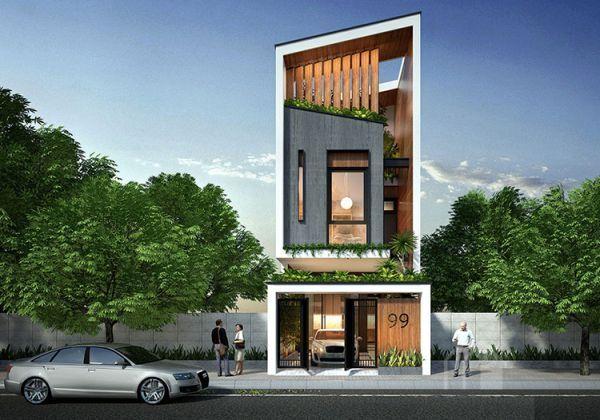 Một ý tưởng khác từ việc kết hợp lam gỗ và giếng trời cho nhà phố mặt tiền 3m