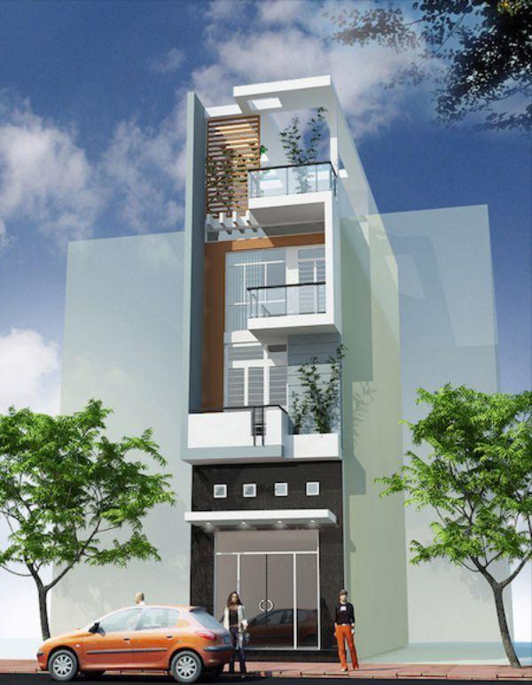 Một thiết kế với lam chắn khác mà bạn có thể tham khảo cho nhà phố của mình