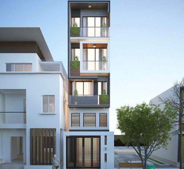 Một thiết kế nhà phố khác, nơi mà các ban công được bố trí lệch tạo sự cân đối và vui mắt cho căn nhà