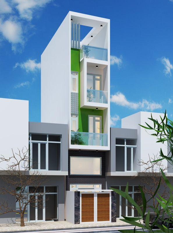 Một chút điểm nhấn màu xanh lá cây tạo cảm giác mát mẻ và tươi tắn hơn cho căn nhà khi nhìn từ xa