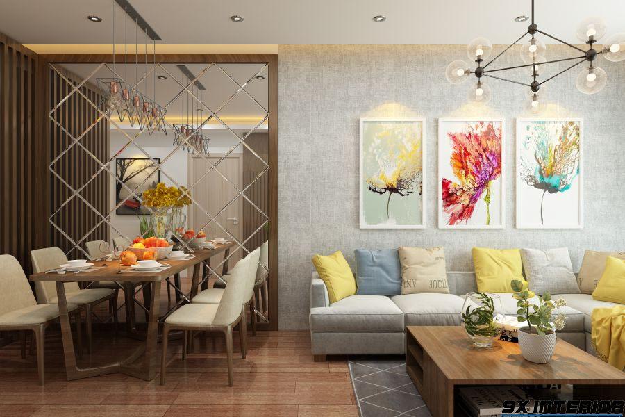 Thiết kế phòng bếp đặt liền kề với phòng khách, đồ dùng nội thất đều hướng đến sự đơn giản, nhẹ nhàng nhưng đầy tinh tế