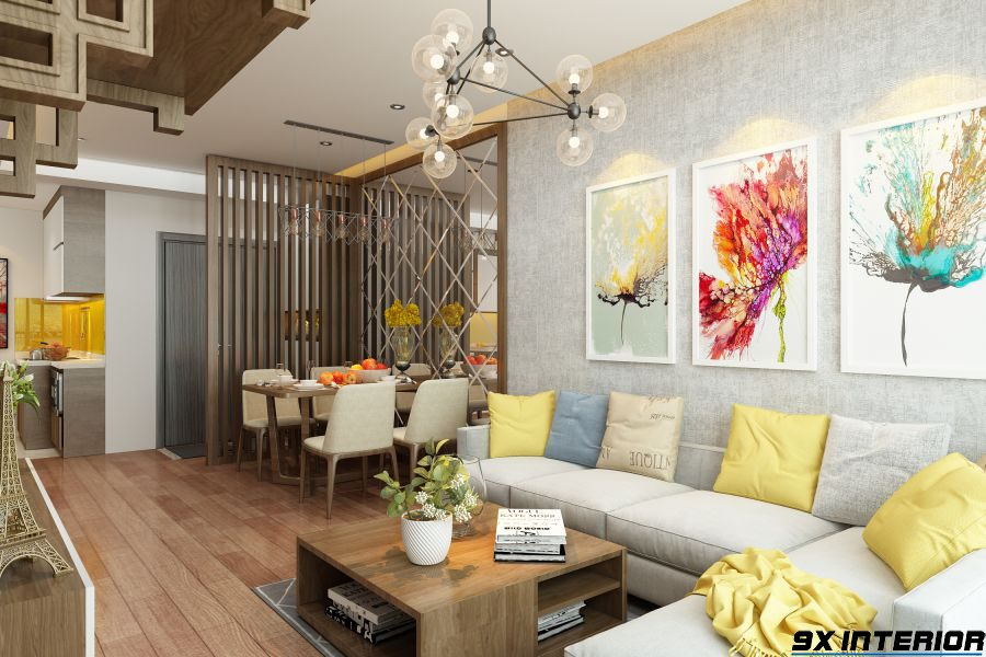 Không gian phòng khách hiện đại và trẻ trung với màu sắc ăn ý hài hòa với nhau