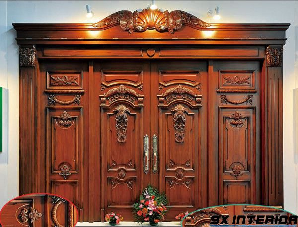 Dòng cửa gỗ chính 4 cánh phong cách cổ điển, sang trọng