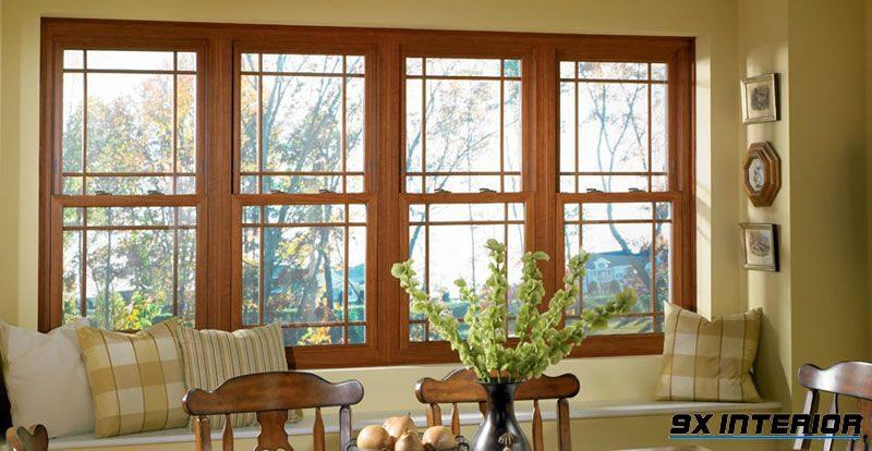 Mẫu cửa sổ kính 4 cánh cho phòng khách năng động
