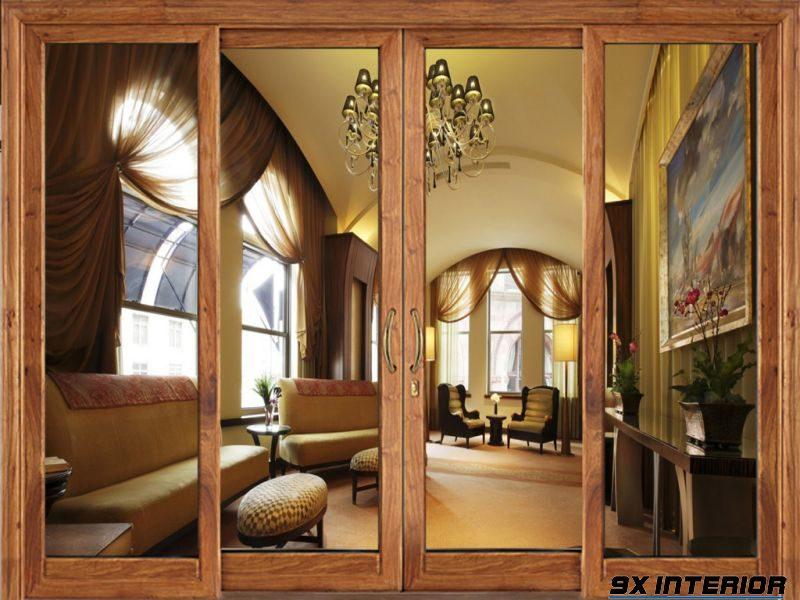 Hoặc một gợi ý khác từ cửa cánh lùa kết hợp giữa khung gỗ tự nhiên và kính cường lực