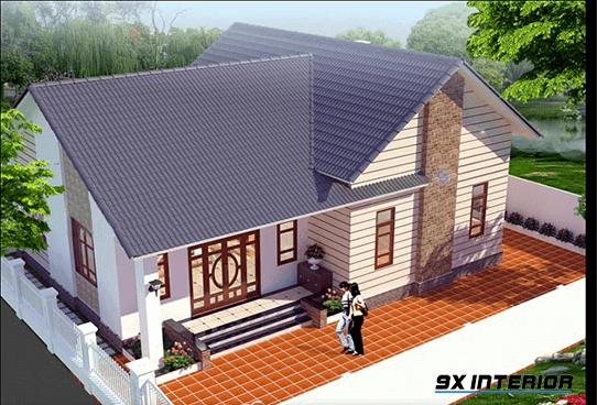 Nếu bạn xây nhà theo chiều ngang thì mẫu thiết kế nhà cấp 4 dưới đây sẽ phù hợp với gia đình trẻ, sống từ 2 đến 3 thế hệ