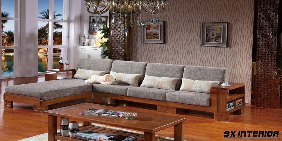 Sự kết hợp của sofa và nỉ không chỉ mang đến cảm hứng mềm mại mà còn cho thấy nét khỏe khoắn từ gỗ tự nhiên