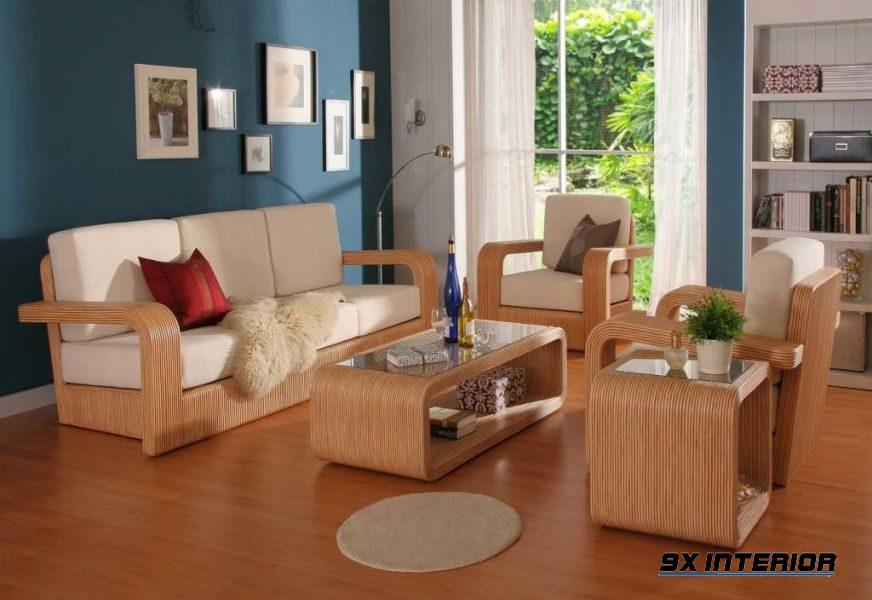 Mẫu bàn ghế dành cho người yêu thích sự mềm mại của sofa nhưng cũng không thể làm ngơ trước vẻ đẹp khỏe khoắn mà gỗ đem lại.