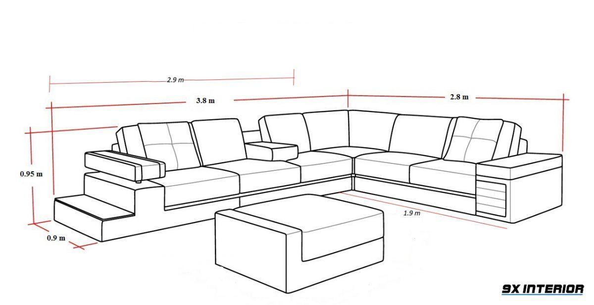 Kích thước sofa góc