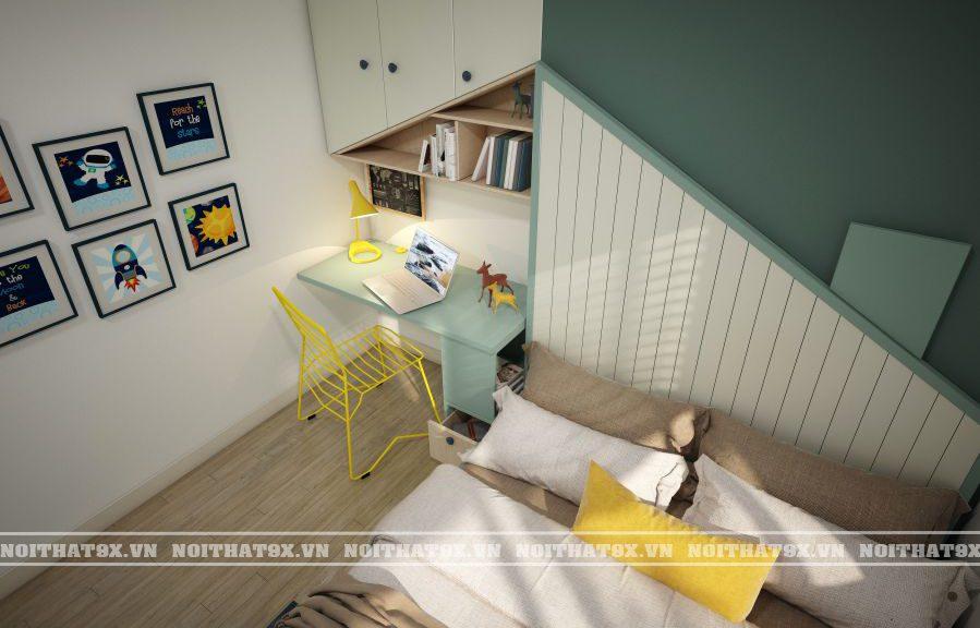 Sự kết hợp hài hòa giữa màu của nội thất và đồ trang trí giúp phòng ngủ bé trai hiện lên thật tinh nghịch, năng động