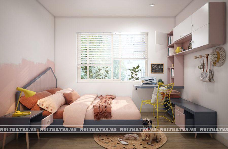 Phòng ngủ bé gái nhẹ nhàng với gam màu hồng phấn