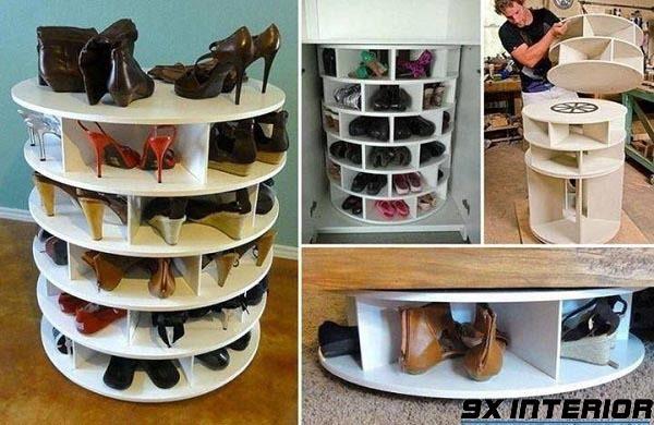 Mẫu tủ giày thiết kế dạng trụ tròn gồm nhiều ô đừng giày thiết kế xếp trồng lên nhau