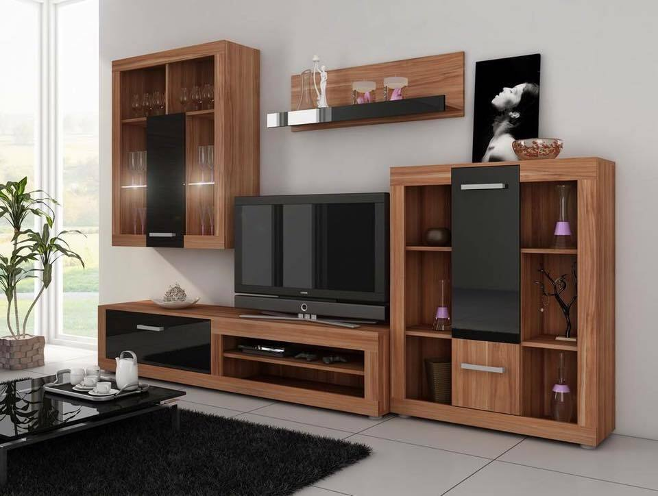 Mẫu tủ tivi rộng rãi và cách điệu cho phòng khách.