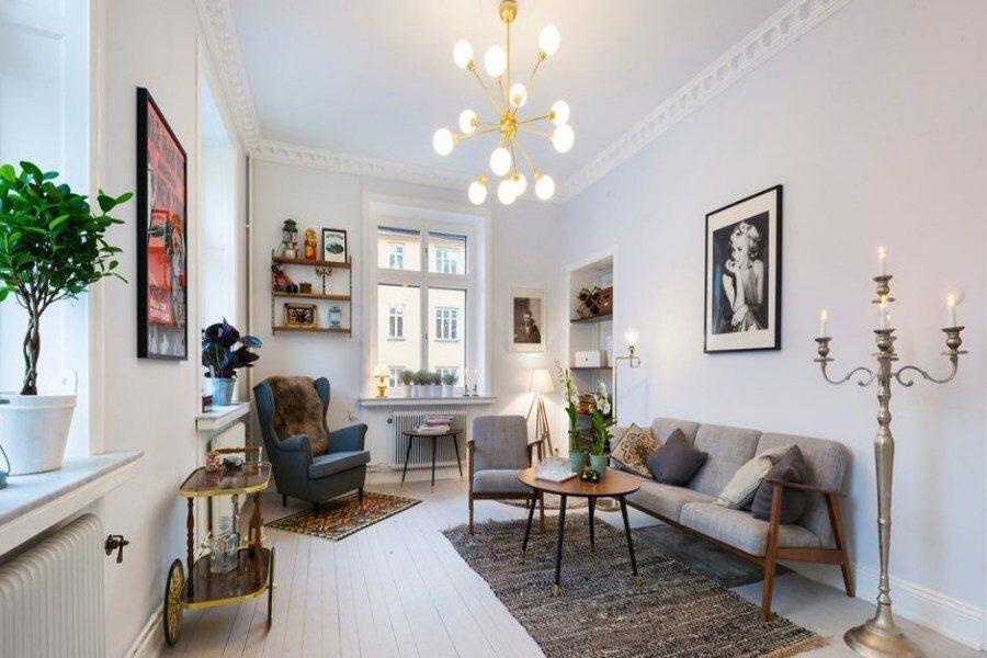 Cây xanh trang trí trong căn hộ Scandinavian