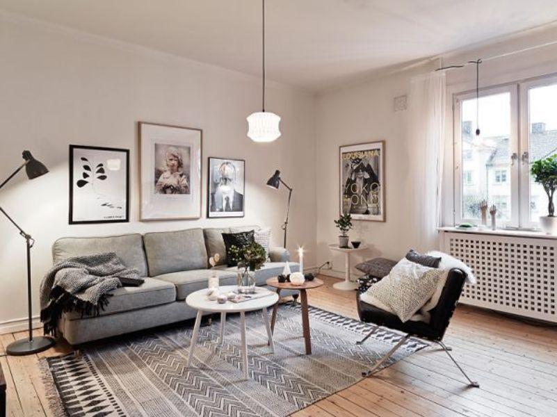 trang trí phòng khách với sofa ghi xám