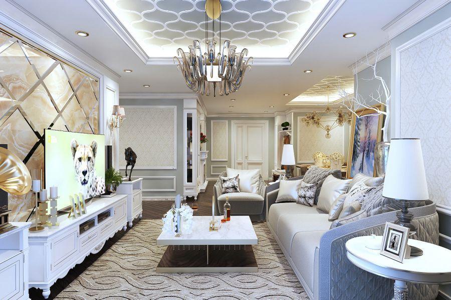 Thiết kế nội thất tân cổ điển rất chuộng chất liệu gỗ tự nhiên, da và đá hoa cương