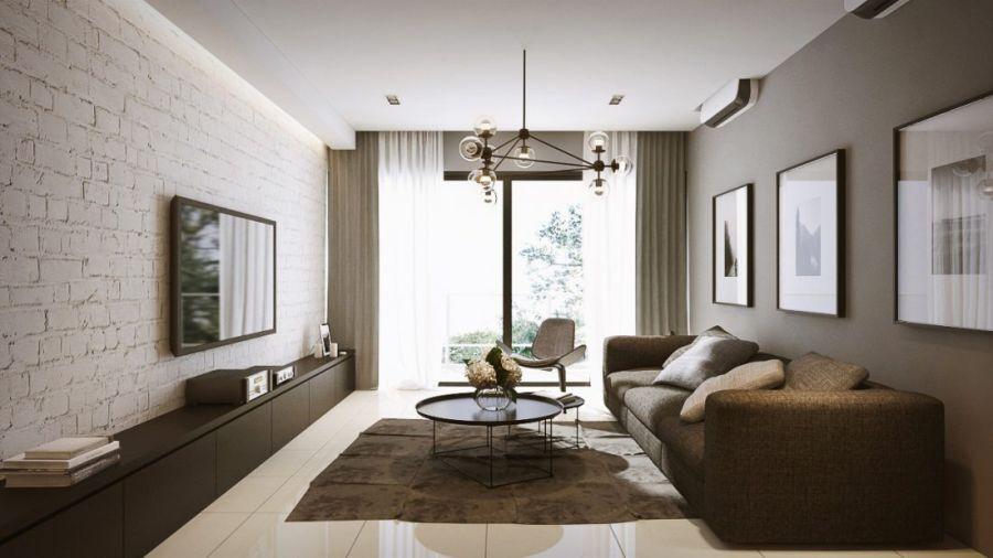 """Thiết kế phòng khách này mang dáng dấp thành thị từ """"view"""" trông ra bầu trời cho đến nội thất đơn giản và đẹp mắt."""