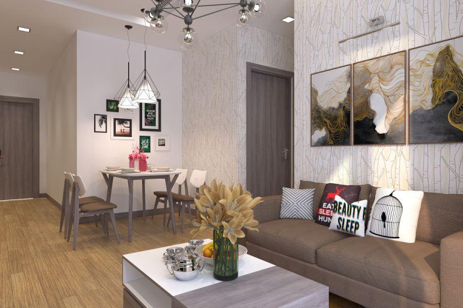 Mẫu 15: Chút nhấn nhá từ màu nâu trầm là gợi ý hoàn hảo cho một phòng sinh hoạt chung có diện tích hẹp