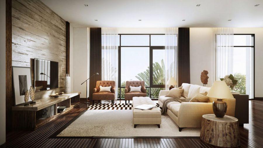 Thiết kế phòng khách này tận dụng ánh sáng mặt trời với tường trắng và sofa màu kem nhẹ.