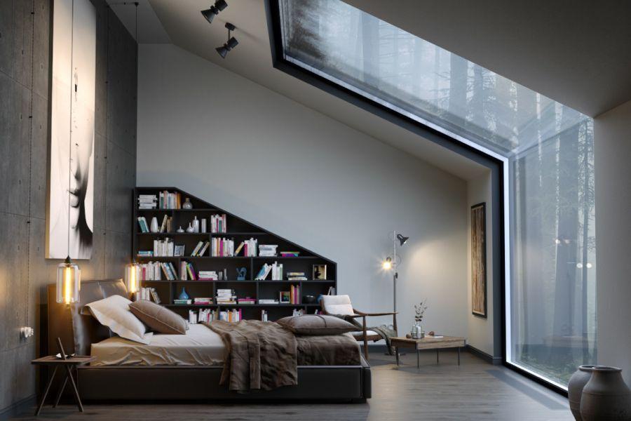 Lấy ý tưởng từ 1 phòng ngủ có không gian bên ngoài đẹp, mẫu này thiết kế với đối diện giường ngủ là những tấm kính cường lực giúp người nằm có thể đọc sách và lúc rảnh có thể ngắm nhìn ra khung cảnh bên ngoài. Hơn thế nữa với cách thiết kế này không gian căn phòng sẽ ngập tràn ánh sáng tự nhiên. Kệ sách được bố trí song song với giường và ở một khoảng cách vừa đủ để bạn có thể ở trên giường và dễ dàng lấy chúng