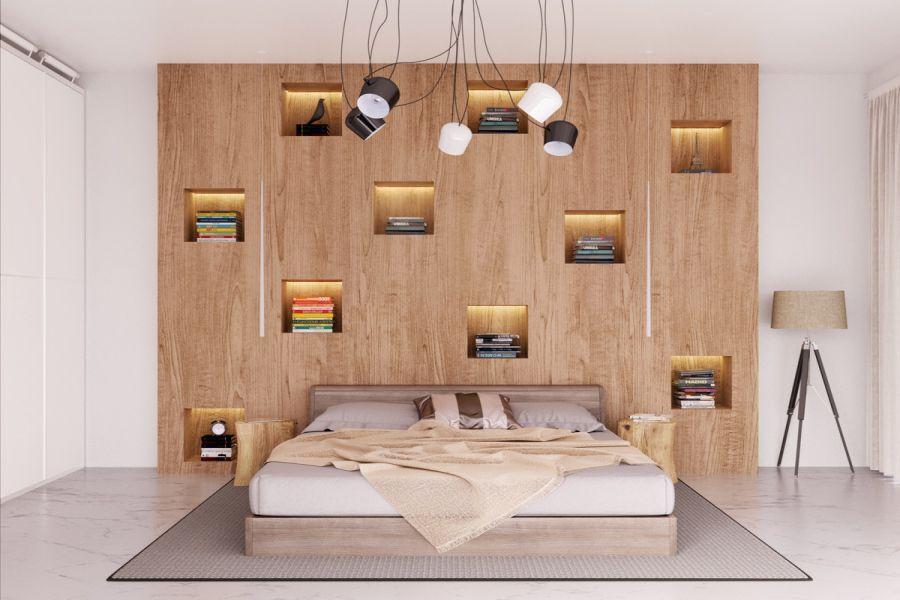 Khi ngắm kỹ mẫu thiết kế này có thể khiến bạn mê mẩn với nghệ thuật tạo hình với vách đầu giường bằng gỗ được trang trí các ô đựng sách, hệ thống đèn led âm tường và đèn dây làm nổi bật căn phòng một cách ấn tượng