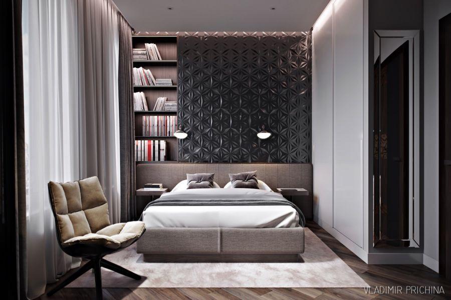 Không gian được thiết kế đơn giản cho phòng ngủ nhỏ, giản lược tối đa chỉ giữ lại những thứ thiết yếu như kệ sách, tủ quần áo và bàn đọc