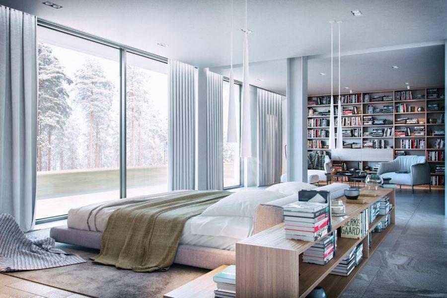 Một mẫu thiết kế phòng ngủ được rất nhiều sự yêu thích từ cộng đồng, với màu sắc được kết hợp tinh tế như một nghệ thuật. Đồ nội thất được lựa chọn tinh tế, có 2 giá sách một đặt ở góc phòng, 1 đặt ngay cạnh đầu giường. Ánh sáng tự nhiên ngập tràn với một mặt tường được làm bằng cửa kính cường lực