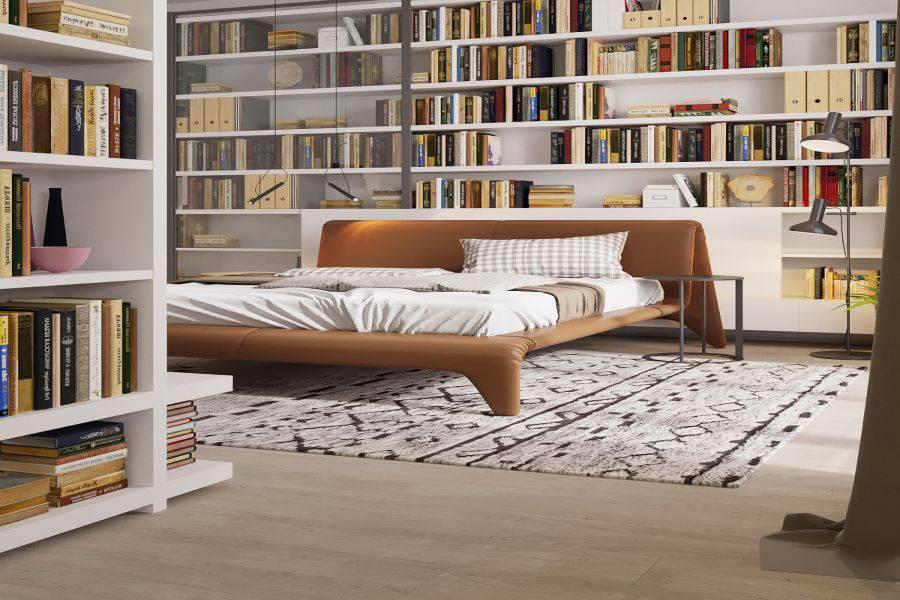 Một phòng ngủ được thiết kế giản lược các công năng đến tối đa và nhường gần hết không gian cho sách và sách