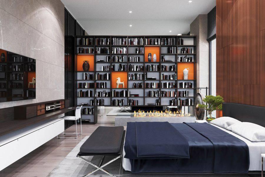 Một phòng ngủ thiết kế theo phong cách hiện đại tối giản tạo không gian rộng dãi nhất với giường ngủ, bàn làm việc, giá sách, tivi, chậu cây xanh. Các phần không cần thiết đều được giản lược để tạo không gian rộng rãi nhất