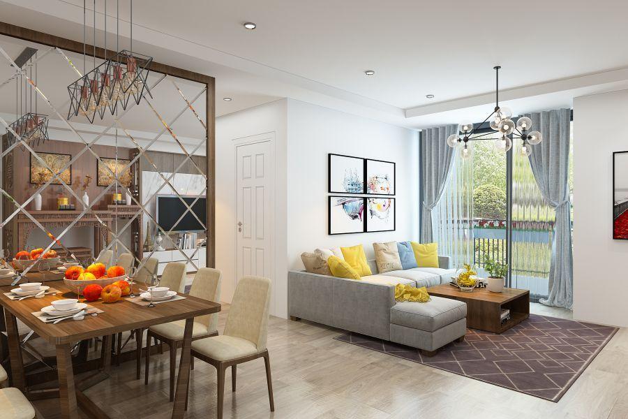 Thiết kế 3D nội thất phòng khách nhà anh Hưng - Ecolife