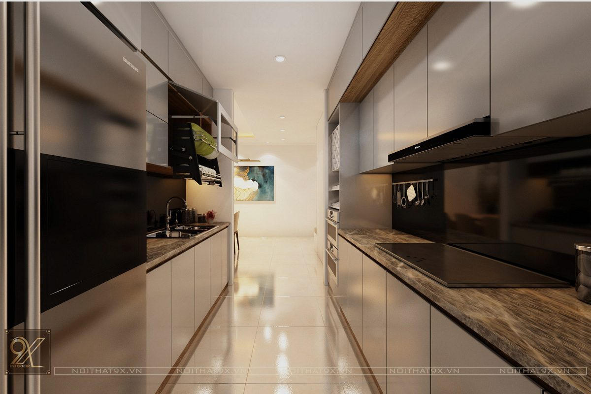 Thiết kế phòng bếp view 2 - Chung cư Vinhomes Gardenia/Anh Chính