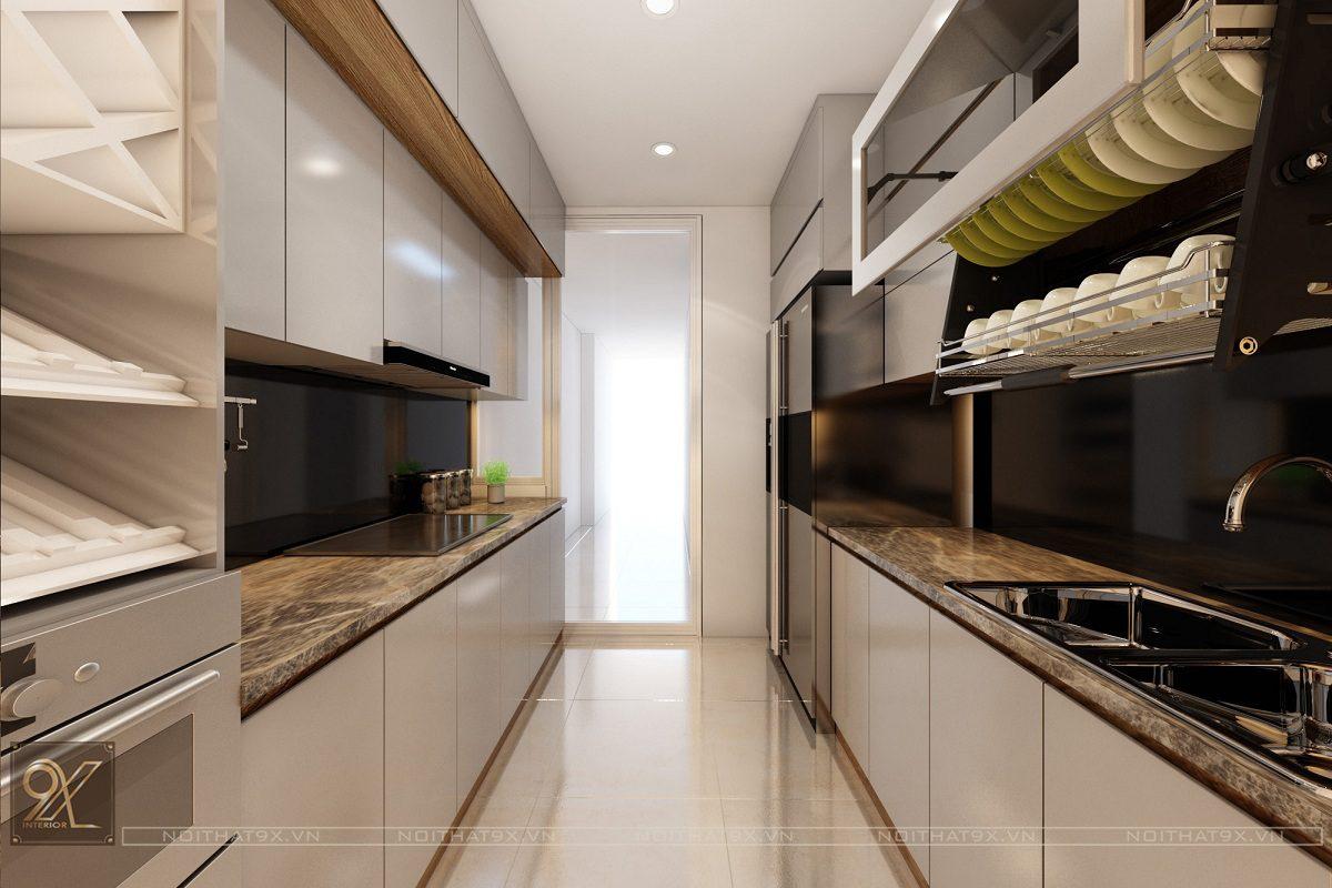 Thiết kế phòng bếp view 1 - Chung cư Vinhomes Gardenia/Anh Chính