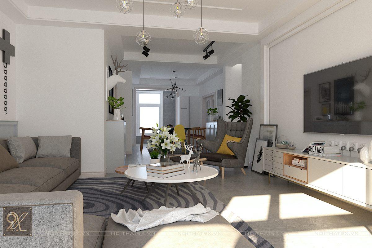 Thiết kế phòng khách view 3 - Chung cư Vinhomes Gardenia/Anh Chính