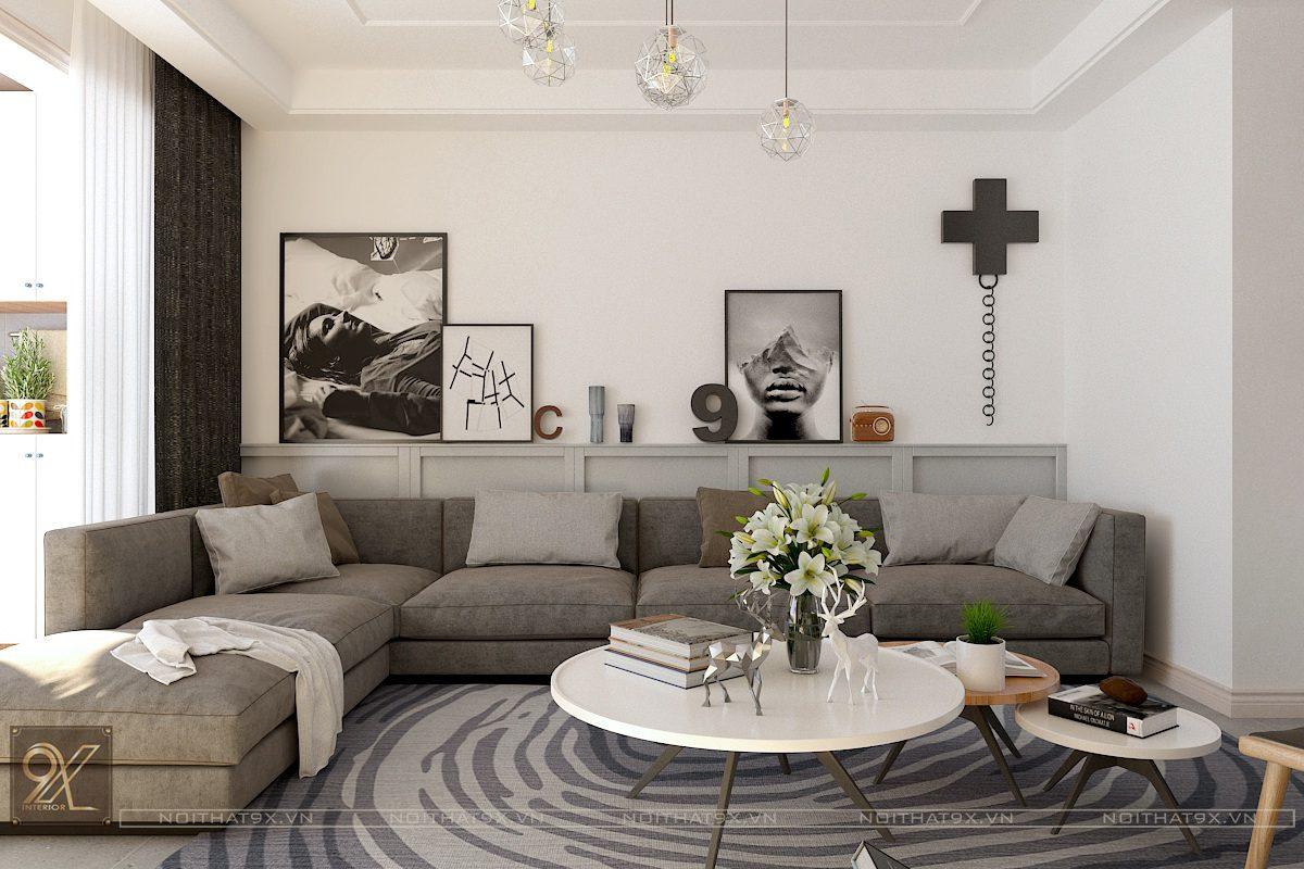 Thiết kế phòng khách view 2 - Chung cư Vinhomes Gardenia/Anh Chính