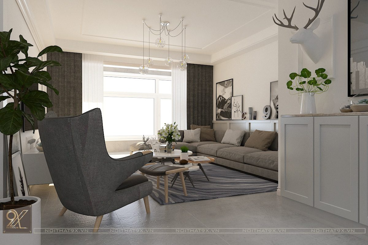 Thiết kế phòng khách view 1 - Chung cư Vinhomes Gardenia/Anh Chính