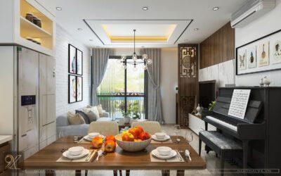 Thiết kế phòng khách chung cư Mandarin Garden – anh Phúc