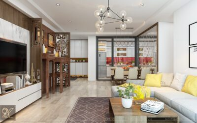 Thiết kế phòng khách chung cư Ecolife Tây Hồ –  anh Hưng